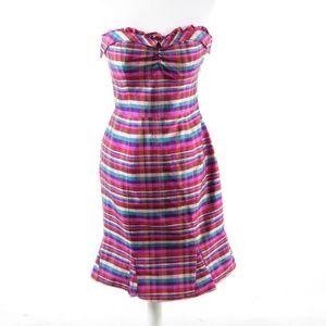 Phoebe pink silk strapless sheath dress 4